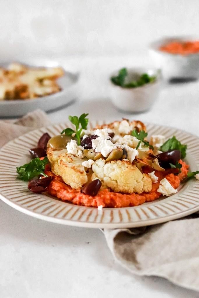 Red Bell Pepper Hummus with Cauliflower Steak & Mediterranean Topping (Vegetarian, Gluten Free) From Close Up