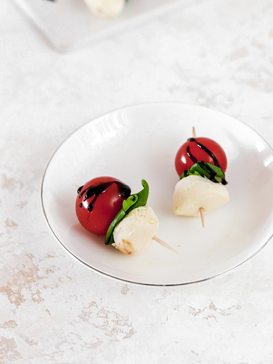 Caprese Bites (Vegetarian, Gluten Free, Low Carb) On A Plate