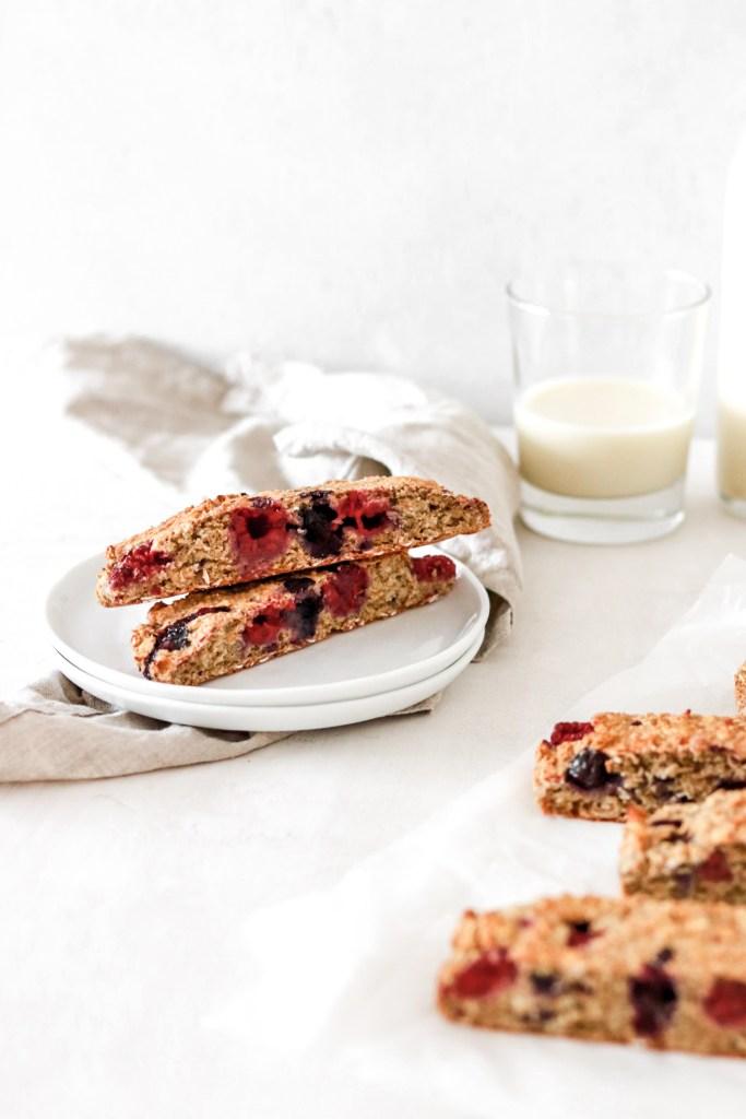 Oatmeal Breakfast Bars with Berries (Vegan, Gluten, Sugar & Oil Free) Cut on Plates
