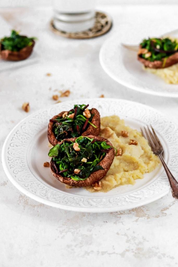 Spinach Stuffed Portobello (Vegan, Gluten, Grain Free, Low Carb) From Front