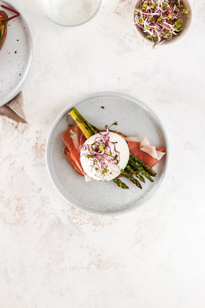 Sweet Potato Toast with Prosciutto, Asparagus & Burrata (Gluten & Grain Free) On Plate from Above