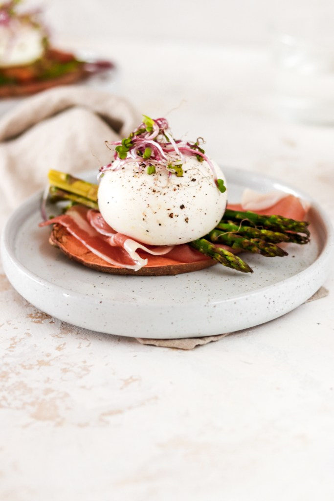Sweet Potato Toast with Prosciutto, Asparagus & Burrata (Gluten & Grain Free) On Plate from Front