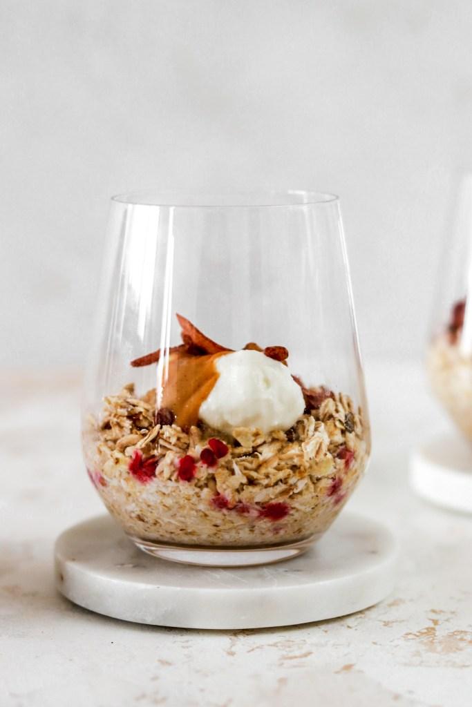 Vanilla Overnight Oats (Vegan, Gluten & Sugar Free) In Glass Close Up