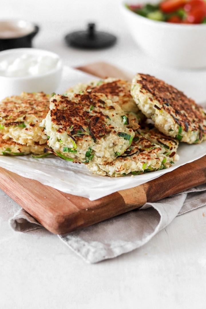 Cauliflower & Leek Fritters (Gluten & Grain Free, Low Carb)
