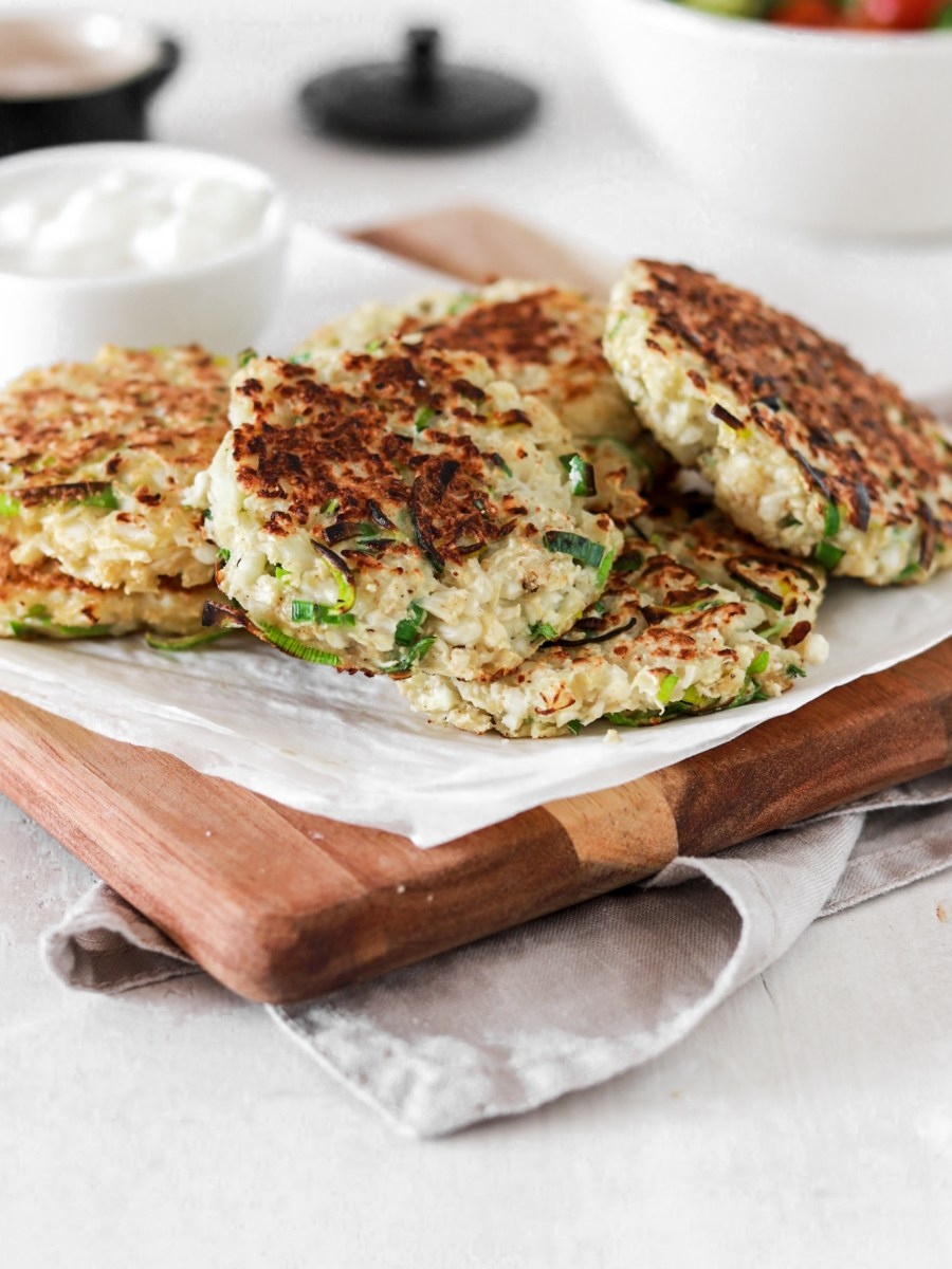 Cauliflower & Leek Fritters (Gluten & Grain Free, Low Carb) From Front on A Board