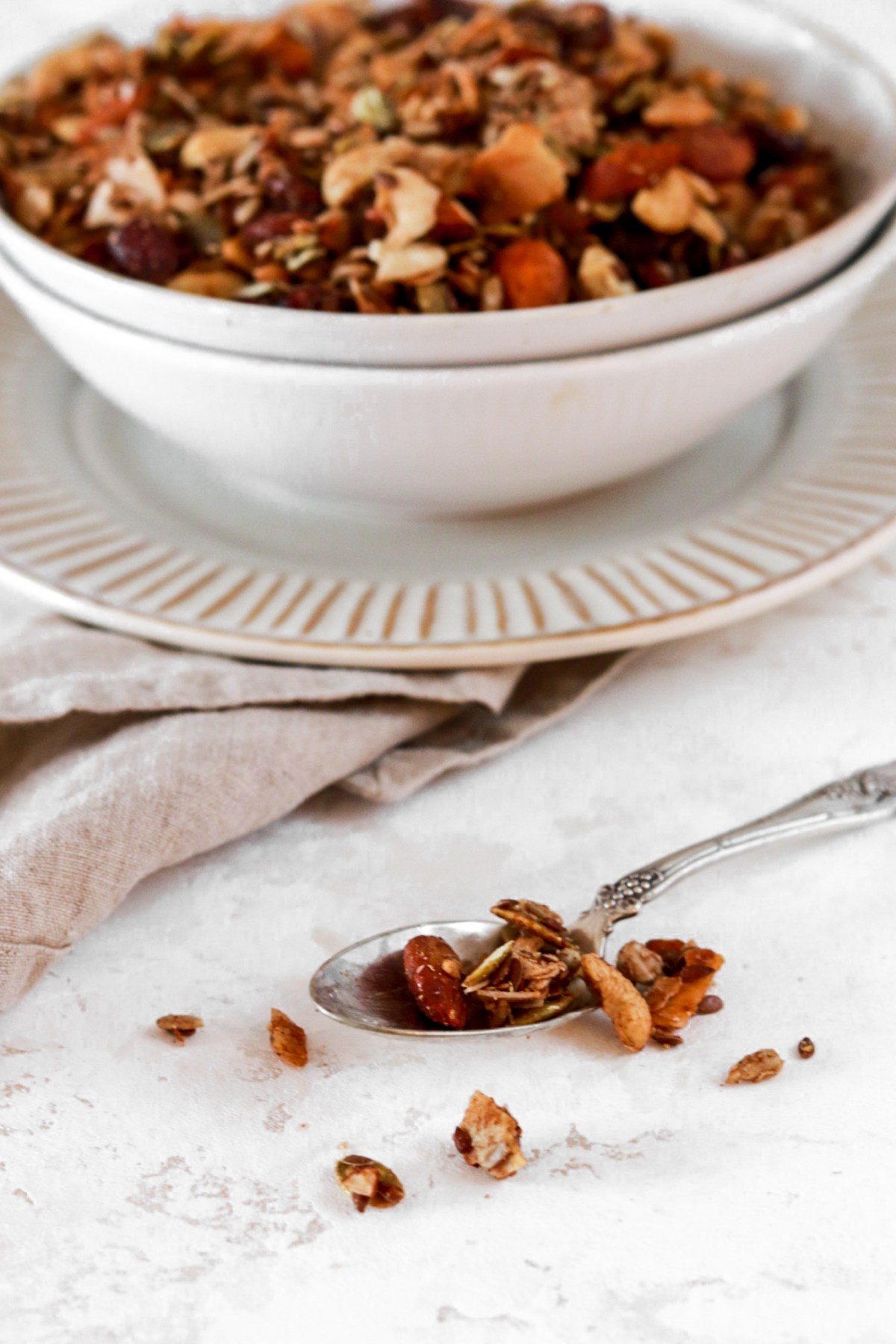 Grain Free Vanilla Granola (Vegan, Gluten, Grain, Sugar Free & Low Carb) From Front on a Spoon