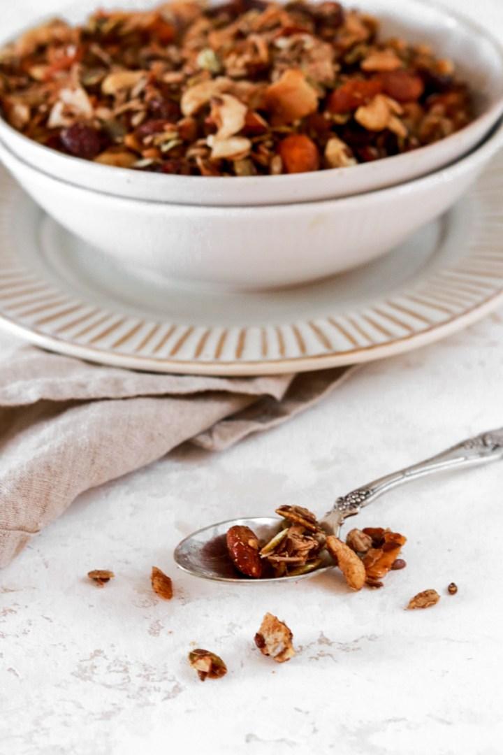Grain Free Vanilla Granola (Vegan, Gluten, Grain, Sugar Free & Low Carb) From Front on a Spoon