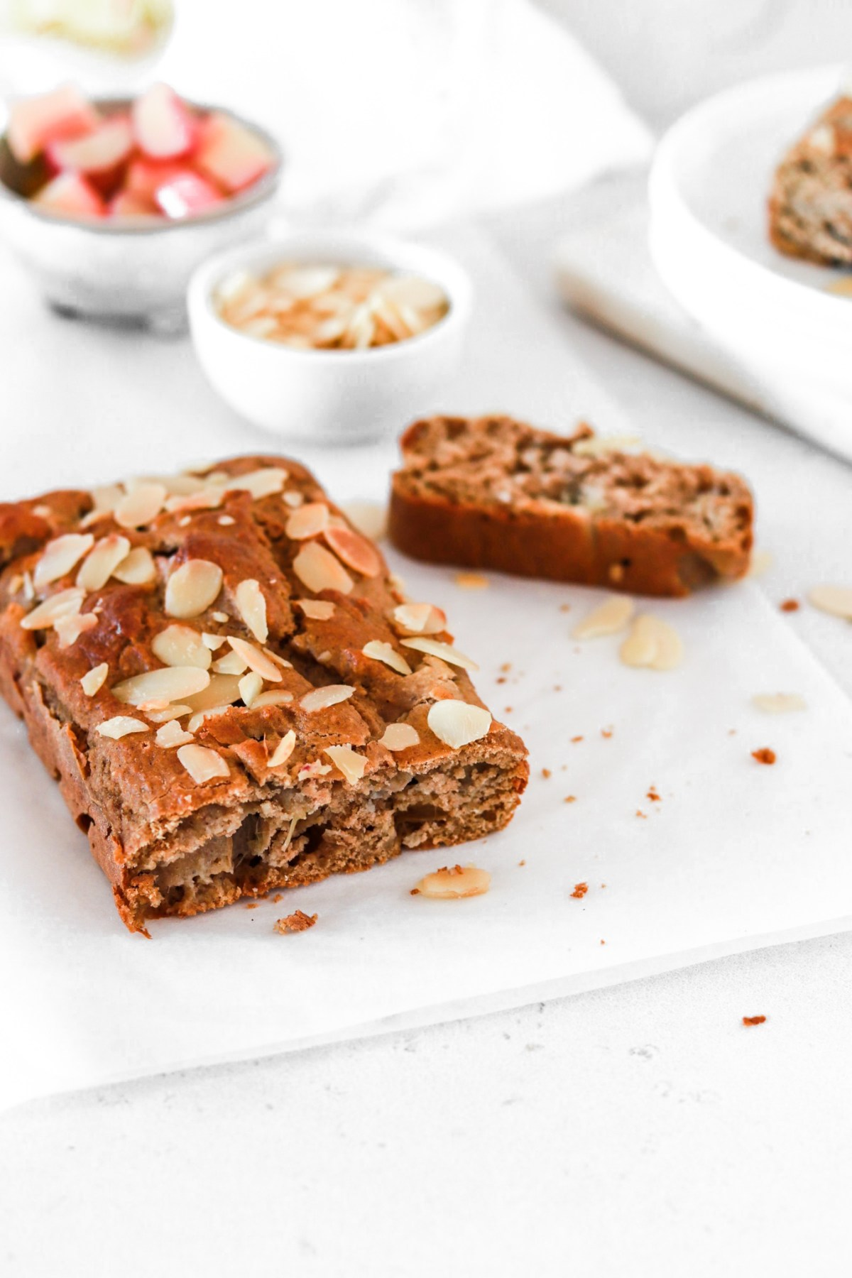 Rhubarb & Cardamom Cake (Gluten, Sugar & Oil Free) Inside From Front