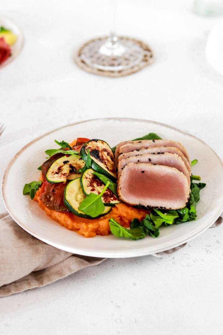 Seared Tuna Steak with Spicy Sweet Potato Mash (Gluten, Grain & Dairy Free)