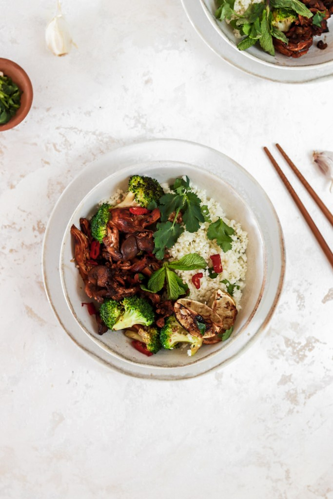 Spicy Oyster Mushroom Bowl (Vegan, Gluten & Grain Free, Low Carb) From Above in A Bowl