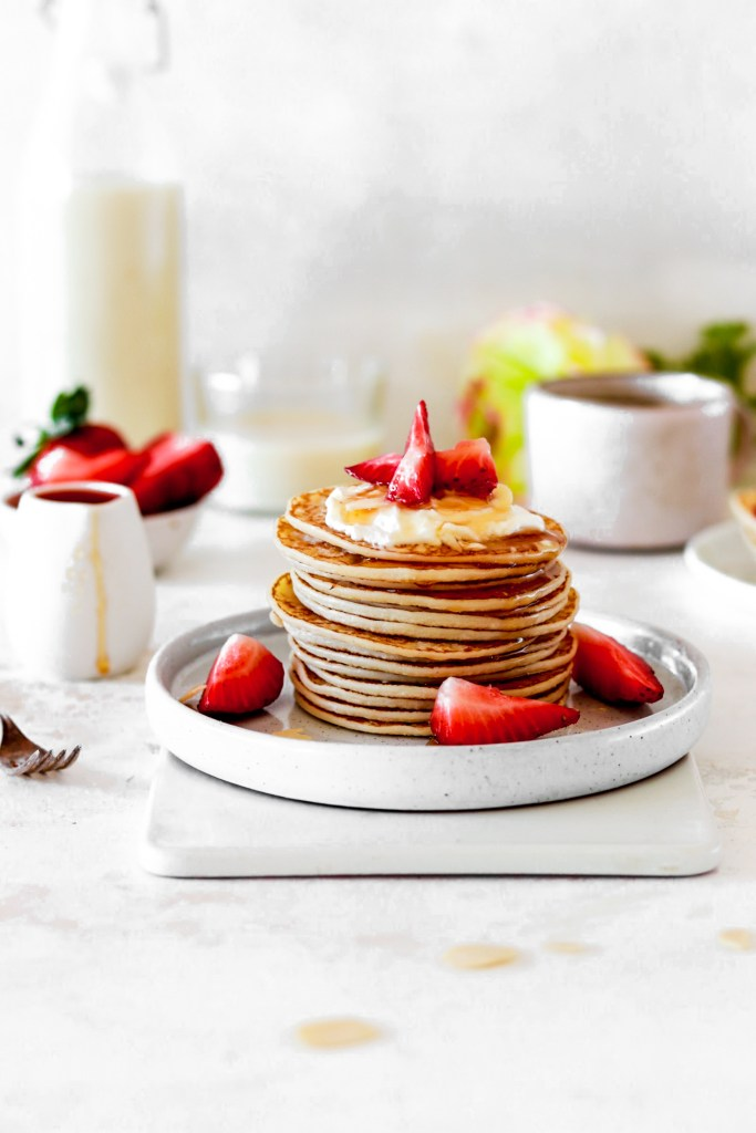 Almond Flour Pancakes (Gluten, Grain, Dairy & Sugar Free, Low Carb) On plate From Front