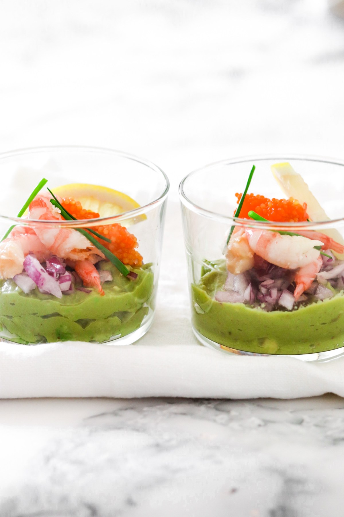 Avocado Mousse with Shrimps & Fish Roe (Low Carb) From Front