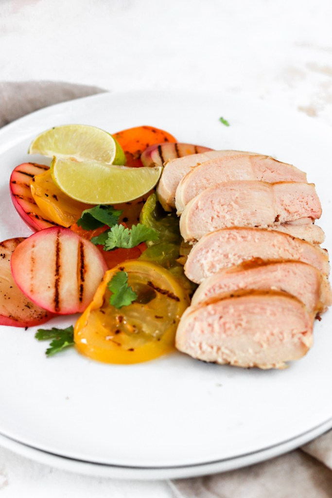 Chicken with Grilled Heirloom Tomatoes & Peaches (Gluten, Dairy, Grain Free & Low Carb) Close Up