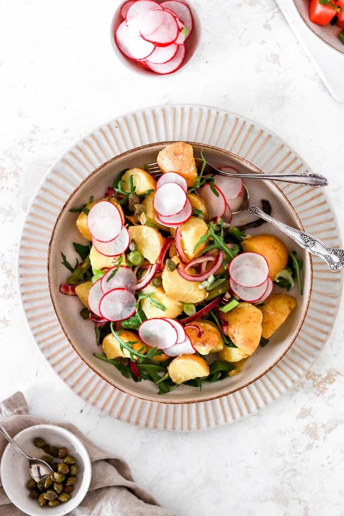 Potato Salad with Dijon Vinaigrette (Vegan, Gluten & Dairy Free) From Above