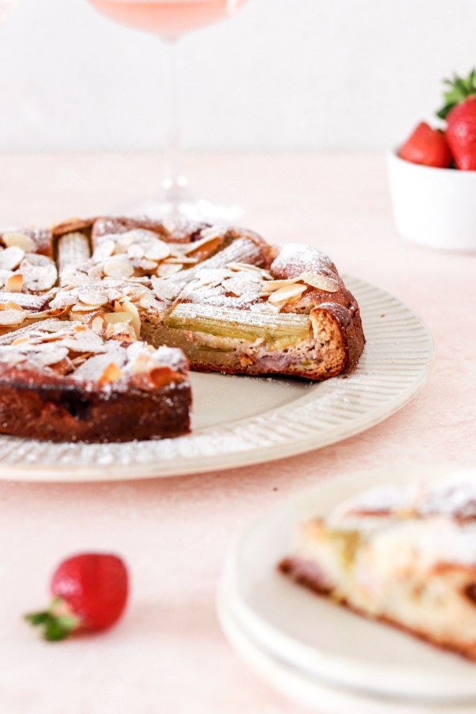 Rhubarb, Strawberry & Vanilla Custard Cake (Gluten & Sugar Free) From From and Inside