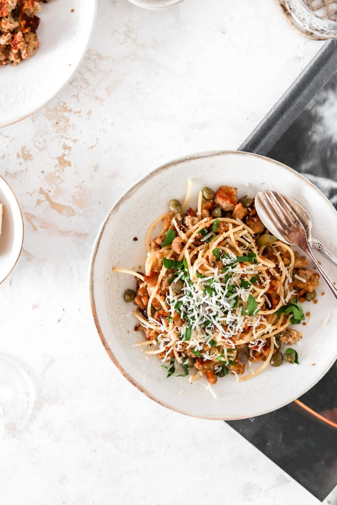 Salsiccia Pasta with Capers (Gluten Free) On A Plate From Above
