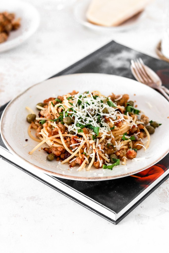 Salsiccia Pasta with Capers (Gluten Free) On A Plate From Front