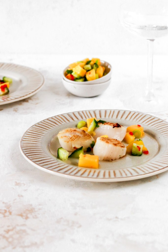 Scallops with Spicy Mango Salsa From Front on Plate