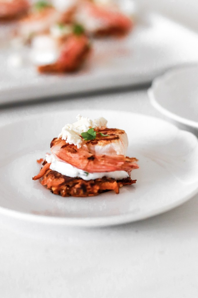 Sweet Potato Hash Browns with Prawns (Gluten & Grain Free) Close Up On Plate