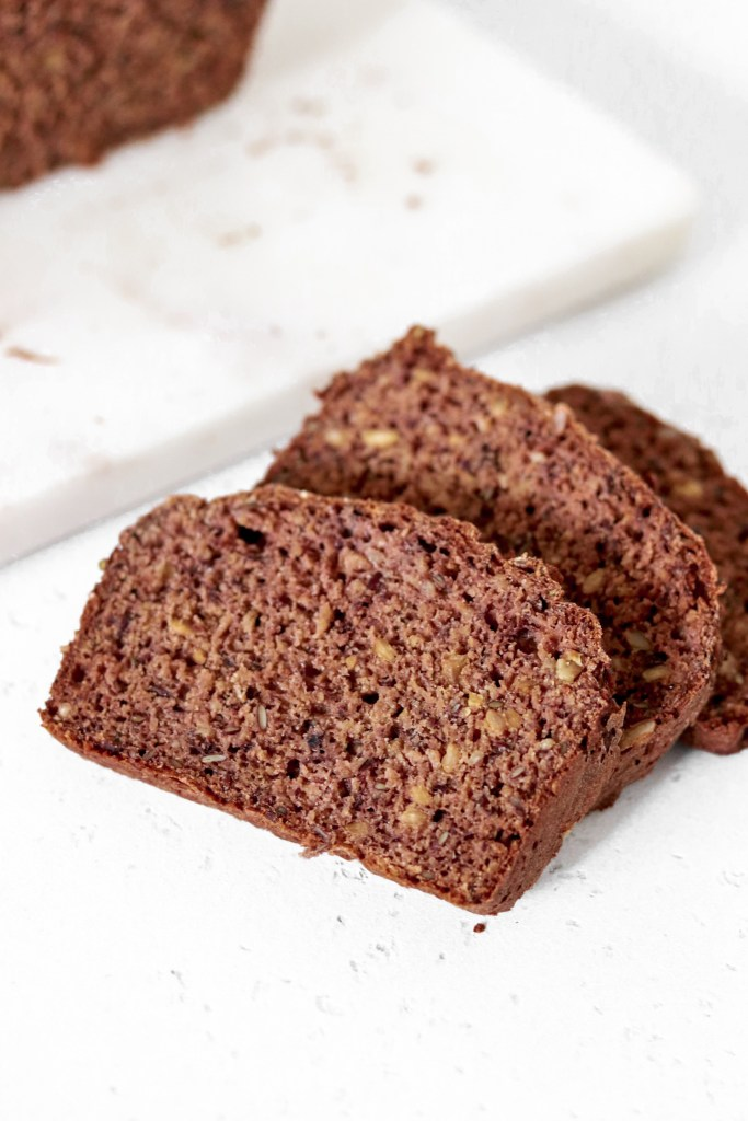 Black Bean Bread with Seeds (Gluten & Oil Free) Bread Slices From Front