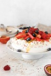 Pavlova with Summer Fruits & Berries (Sugar Free & Low Carb) From Front On Cake Plate