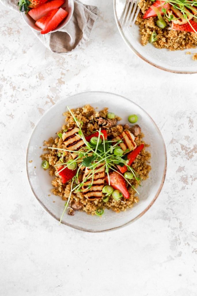 Summer Quinoa & Halloumi Salad (Gluten Free) From Above On Plate