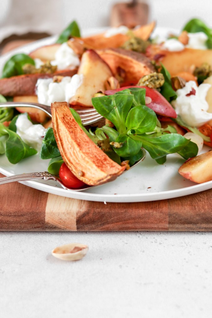 Summer Salad with Sweet Potatoes & Fried Peach (Vegetarian, Gluten & Grain Free) Close Up