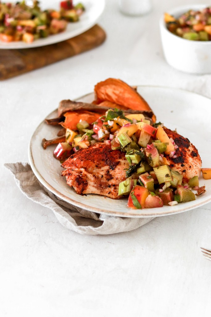 Cajun Spiced Chicken with Rhubarb & Peach Salsa (Gluten & Grain Free) On Plate From Front