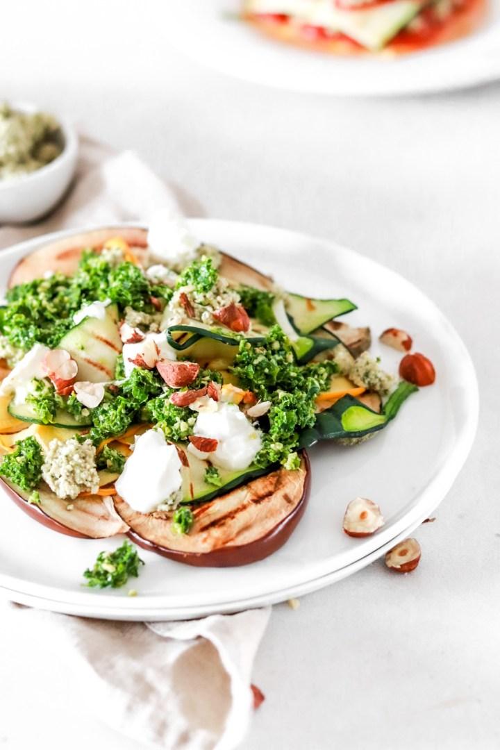 Grilled Aubergine & Zucchini with Hazelnut Pesto & Ricotta (Vegetarian & Gluten Free)