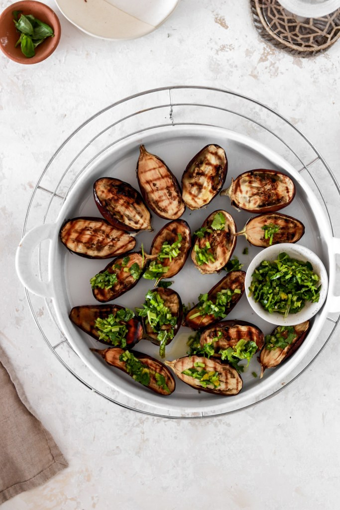 Grilled Mini Aubergines with Herb Gremolata (Vegetarian, Gluten, Grain Free & Low Carb) From Above