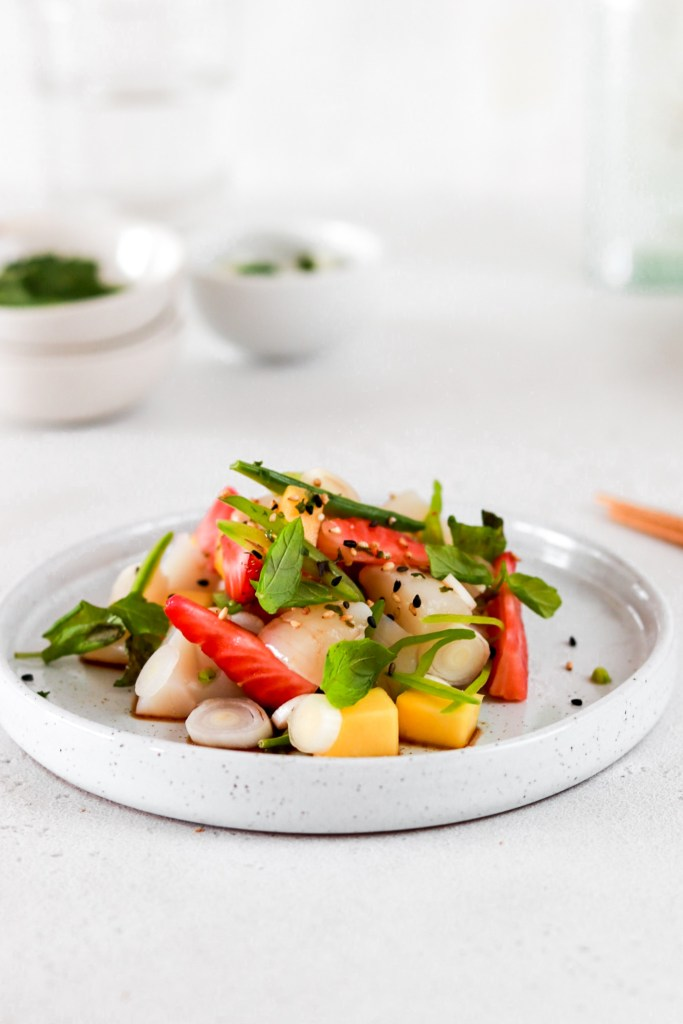 Summer Fruit & Scallop Ceviche (Gluten, Grain, Oil Free & Low Carb) From Front