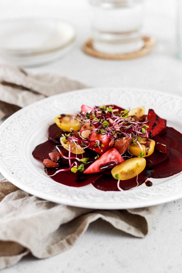 Beetroot Carpaccio with Strawberries (Vegan, Gluten, Grain, Oil Free & Low Carb)