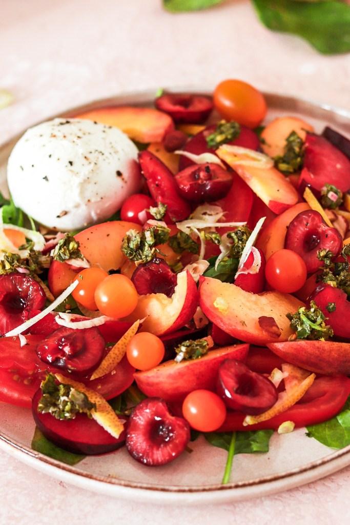 Burrata & Stone Fruit Salad (Vegetarian, Gluten & Grain Free) Close Up