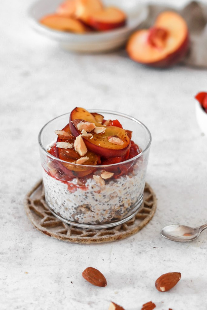 Overnight Chia Oats with Peach Sauce (Gluten & Sugar Free) On The Table