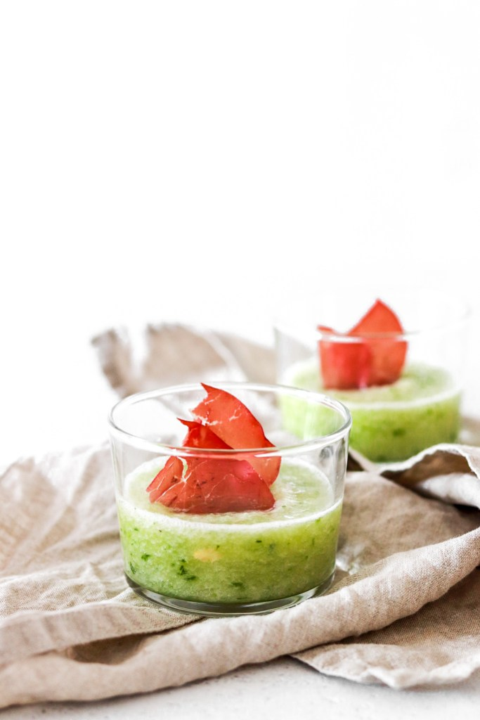 Chilled Galia Melon Soup (Gluten, Grain, Oil Free & Low Carb) From Front In Glasses