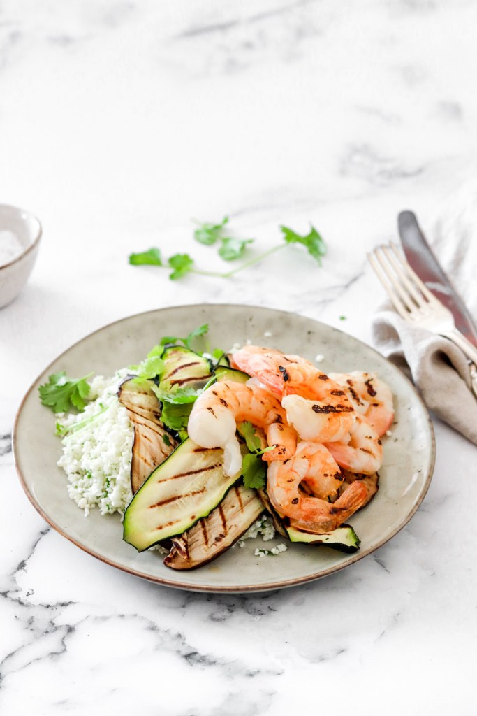 Grilled Prawns & Vegetables (Gluten, Grain Free & Low Carb) From Front