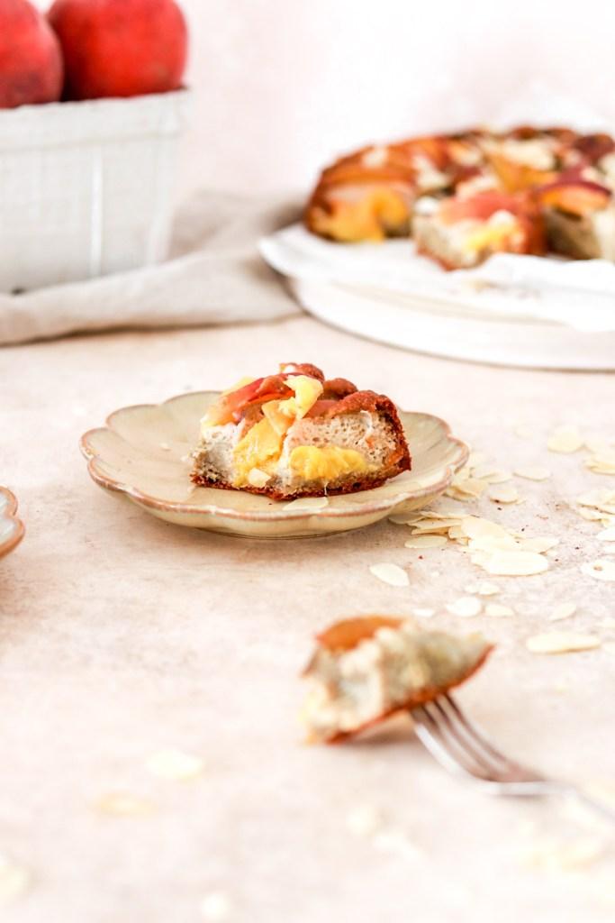 Peach & Almond Cake (Gluten & Sugar Free) From Front Inside