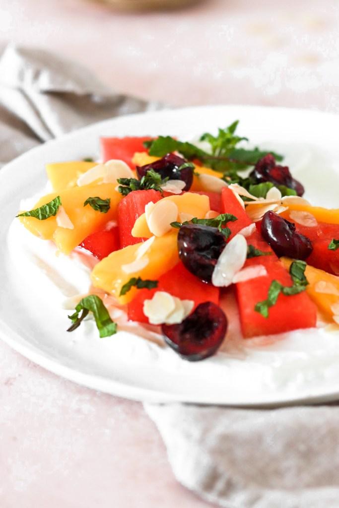 Summer Fruits with Yogurt (Vegan, Gluten, Grain, Sugar Free) From Front Close Up