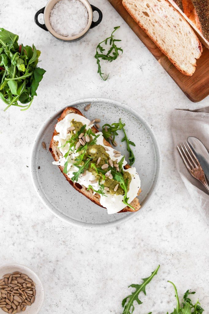 Toast with Burrata & Pesto (Gluten Free) From Above