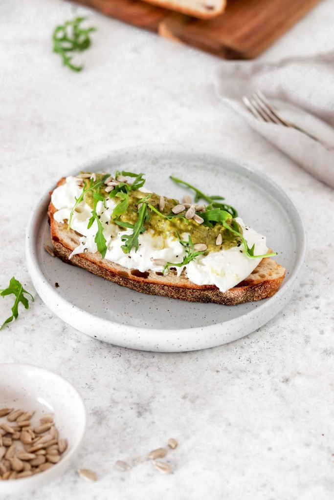 Toast with Burrata & Pesto (Gluten Free) From Front