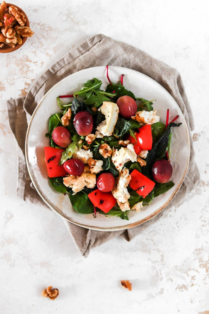 Baked Feta Cheese and Grape Salad (Gluten, Grain Free & Low Carb) From Above