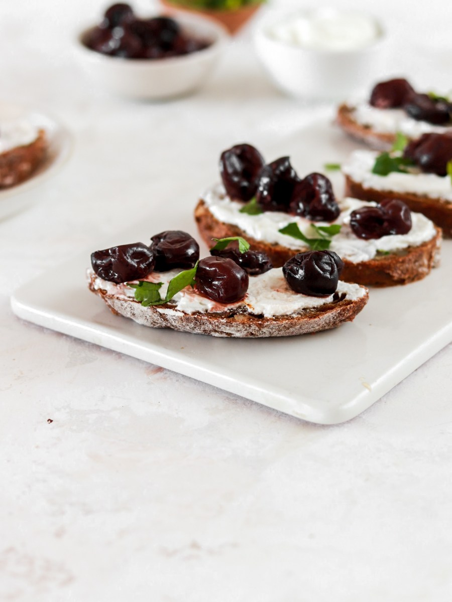 Toast with Balsamic Roasted Cherries and Ricotta (Gluten Free) From Front