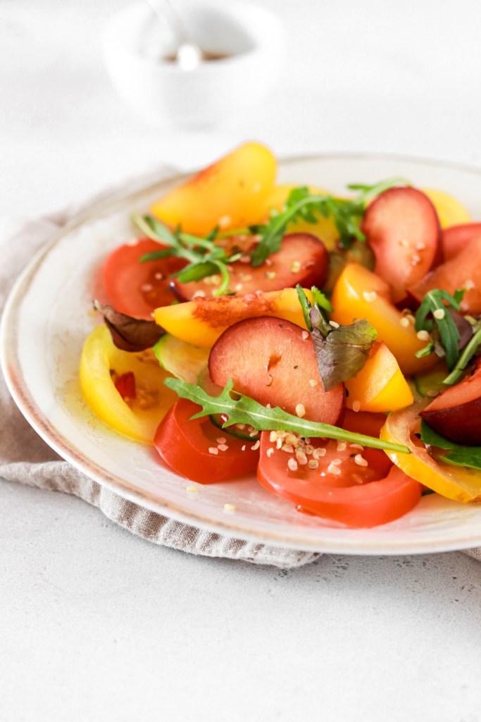 Tomato & Plum Salad (Vegan, Gluten & Grain Free) From Front Close Up