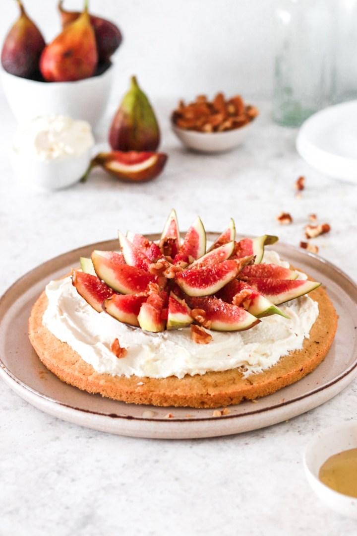 Polenta Cake with Mascarpone Cream & Figs (Gluten, Egg & Sugar Free)