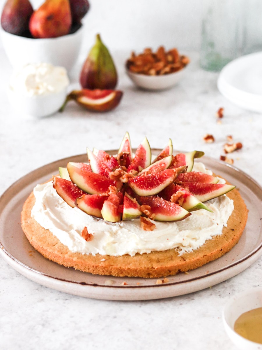 Polenta Cake with Mascarpone Cream & Figs (Gluten, Egg & Sugar Free) From Front