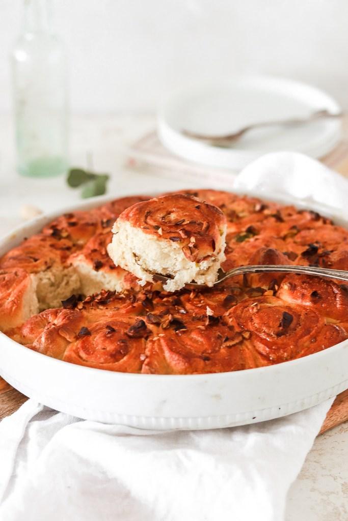 Pan Baked Vanilla & Pistachio Buns (Gluten & Sugar Free) From Front In Pan