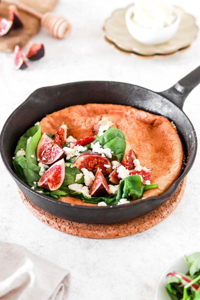 Dutch Baby with Figs & Feta Cheese (Gluten Free) From Front