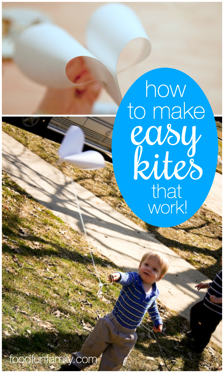 How to make easy kites that work! These kites only take a few minutes to make and they're easy enough for preschool kids to make (with a little adult help) and fly (on their own)!