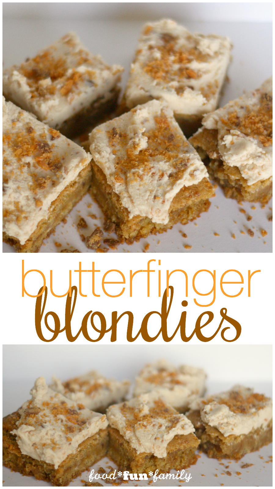 Butterfinger blondies - forget brownies! These blondies made with leftover Halloween Butterfinger candies is the BEST!