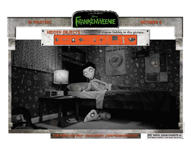 FRANKENWEENIE - Hidden Objects activity sheets